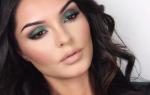 Макияж с зелеными тенями для карих глаз